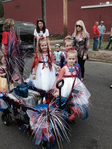 My Girls with their float; over 200 people turn out to watch this parade!